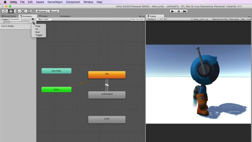Creating a Jet Pack Fly Animation and code for Astrodude Part 1